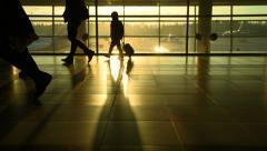 Moscow, March 2015, the crowd moves in Sheremetyevo airport, silhouettes - stock footage