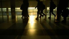 Moscow, March 2015, the crowd moves in Sheremetyevo airport, silhouettes Stock Footage