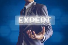 Businessman or Salaryman with Expert text modern interface concept. - stock illustration
