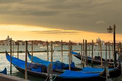 Amazing view of Grand Canal at sunset with San Giorgio Maggiore church. San M Stock Photos