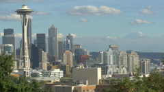 Best view of downtown Seattle and Mount Rainier Stock Footage