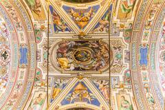 VATICAN - JUNE 09, 2014: The ceiling in one of the rooms of Raphael (Stanze d Stock Photos