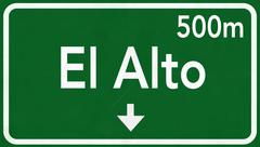 Stock Illustration of El Alto Bolivia Highway Road Sign
