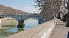 Ponte Mazzini. Tiber, Rome, Italy Stock Footage