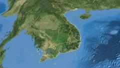 Vietnam, glide over the map, outlined Stock Footage