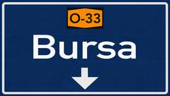 Bursa Turkey Highway Road Sign - stock illustration