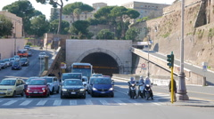 Arch Galleria Principe Amedeo di Savola tunnel. Rome, Italy  Stock Footage