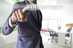Stock Illustration of Businessman press architect of business conceptual