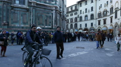 4K Tourists queue up Florence Cathedral Duomo Santa Maria del Fiore Tuscany Stock Footage