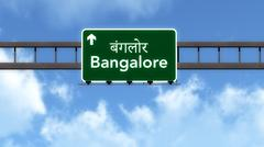 Bangalore India Highway Road Sign Stock Illustration