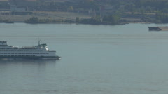 Boat floating in Elliott Bay, Seattle Stock Footage