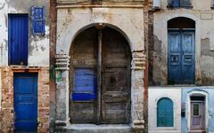 Collection of weathered doors in the old town of Chania, Crete island - stock photo