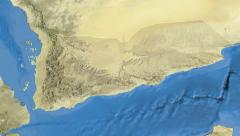 Yemen, glide over the map, outlined Stock Footage