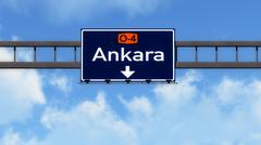 Stock Illustration of Ankara Turkey Highway Road Sign