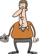 man and hidden camera cartoon - stock illustration