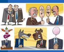 cartoon politics concepts set - stock illustration