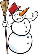 happy snowman cartoon illustration - stock illustration