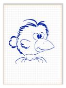 Funny crow with big beak. Bird cartoon character. Vector illustration Stock Illustration