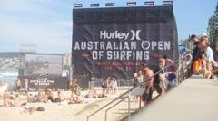 Hurley Australian Open fans climb steps Stock Footage
