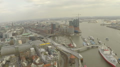 Aerial view of Hamburg and Hamburg port Stock Footage