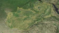 Zambia, glide over the map, outlined Stock Footage