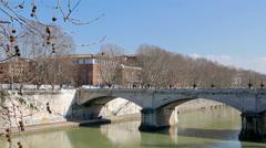 Ponte Mazzini, Rome, Italy. 4K Stock Footage