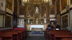 4k Inside Nossa Senhora da Conceição chapel Camara de Lobos Madeira Stock Footage