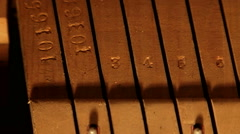 Piano mechanics inside hammers strings - stock footage