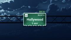 Hollywood USA Interstate Highway Road Sign - stock illustration