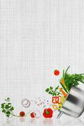 Recipe template. Fresh vegetables on fabric texture Stock Photos