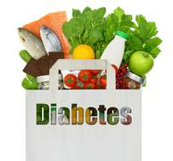 Paper bag with the word diabetes filled with healthy foods Stock Photos