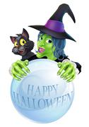Halloween Witch cat and crystal ball Stock Illustration