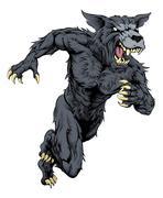 Wolf sports mascot or werewolf running Piirros