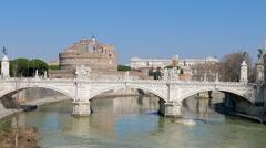 Bridge Vittorio Emanuele II. Tiber,  Rome, Italy Stock Footage