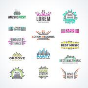 First big set music equalizer emblem vector elements Stock Illustration