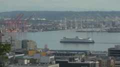 Ship in Elliott Bay Seattle, Washington Stock Footage