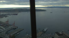 Elliott Bay aerial view from Space Needle Tower, Seattle Stock Footage