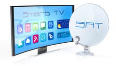 smart tv with satellite dish - stock illustration