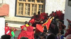 Stock Video Footage of Lamayuru Festival 2013 Monks bless spectators,Lamayuru,Ladakh,India