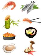 Sushi and other traditional japanese food icons Piirros