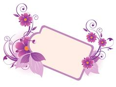Violet  banner with flowers, leaves  and ornament Stock Illustration
