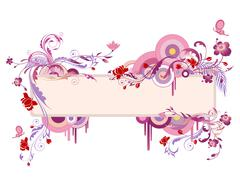 Colored banner with floral ornament and butterfly Stock Illustration