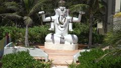 Statue of Hindu God Ganesha - Tilt Up Stock Footage