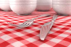 Fork and Knife closeup on a red table cloth - stock illustration