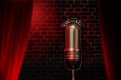 Vintage microphone on red cabaret stage - stock illustration