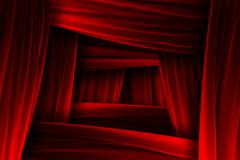 Red curtain frame illusion Stock Illustration
