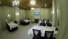 Nice classical restaurant room with table appointments Stock Footage