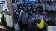 Maidan. Riots in Kiev. Protesters fight. 16.03.2014 Stock Footage