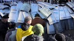 Maidan. Protesters fighting with police. Kiev 16.03.2014 - stock footage