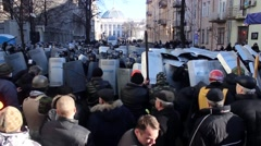 Maidan. Police fighting with protesters. Kiev 16.03.2014 - stock footage